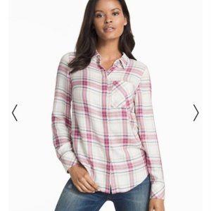 White House Black Market plaid button up shirt